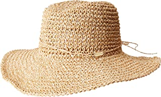 Women's Natural Crochet Packable Cowboy Hat With Ties