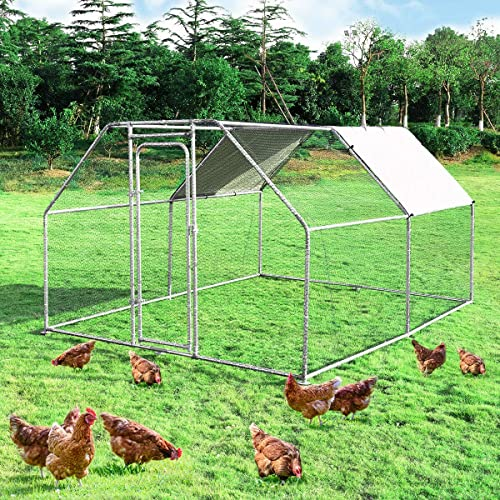 Large Metal Chicken Coop Walk-in Chicken Coops Hen Run House Shade Cage with Waterproof and Anti-Ultraviolet Cover for Outdoor Backyard Farm Use Poultry Cage (9.5' Lx12.5' Wx6 H')