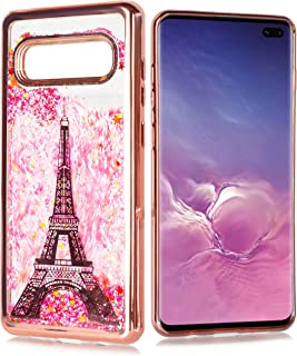 S10+ Plus Case, Customerfirst for Samsung Galaxy S10+ Plus (SMG975) Cute Liquid Glitter Motion Flowing Sparkle Stars Shockproof Protective Chrome TPU Clear S10+ Case [Free Emoji!] (Rose Paris)