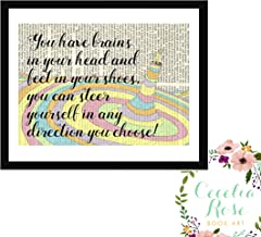 You have brains in your head and feet in your shoes, you can steer yourself in any direction you choose! Dr Seuss Oh The Places You'll Go Children's Nursery Farmhouse Book Art 9x11 Box Framed Print