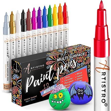 ARTISTRO marqueur acrylique stylos acryliques - 12 couleurs Marqueurs Peinture Acrylique - feutre acrylique pointe fine 0.7mm - Stylos de peinture pour roche, bois, métal, plastique, verre, toile