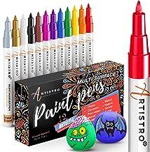 ARTISTRO 12 kolorowych pisaków akrylowych do malowania kamieni, farba akrylowa, cienkopisy filcowe 0,7 mm, bardzo cienka k...