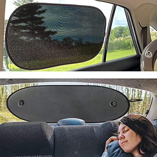 """new arrival EcoNour Gift Bundle   Car Side Window Shade 25x16"""" outlet sale (2 Pack) + Car Rear Windshield Sunshade (Large 39"""" x 17"""")   Screen discount Mesh Cover   UV & Sun Glare Protection sale"""