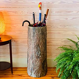 Country Stump 🌳 Vintage Farmhouse Umbrella Stand. Unique Indoor/Outdoor Walking Stick & Umbrella Holder. Rustic Home Entryway Log Bin.