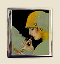 Flapper Lipstick Cigarette Case Business Card ID Holder Wallet Art Deco 1920s Jazz Age