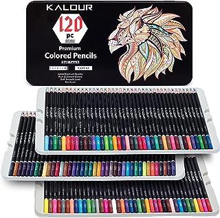 ست مداد رنگی KALOUR 120 Premium برای هنرمندان بزرگسال - هسته مبتنی بر موم - سرب لمسی نرم - ایده آل برای کتابهای رنگ آمیزی سایه پردازی نقاشی - مداد رنگی پر جنب و جوش با قلع قلع