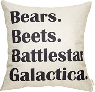 Fahrendom Bears, Beets, Battlestar Galactica, The Office Quote Sign Decor Cotton Linen Home Decorative Throw Pillow Case Cushion Cover with Words for TV Series Lover Sofa Couch 18 x 18 in