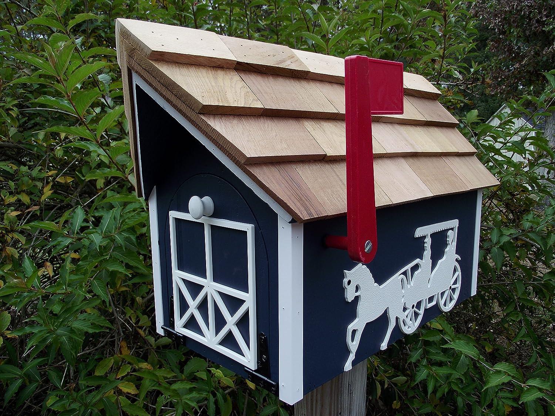 Amish Handmade Handcrafted Rural Mailbox w Flag Dk Blue Horse