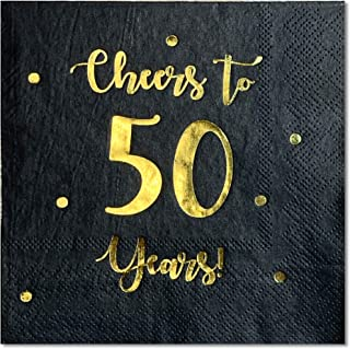 Cheers to 50 Years Cocktail Napkins | Happy 50th Birthday Decorations for Men and Women and Wedding Anniversary Party Decorations | 50-Pack 3-Ply Napkins | 5 x 5 inch folded (Black)