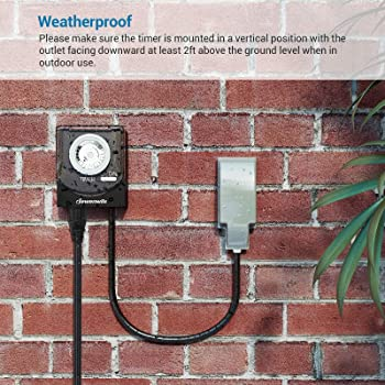 15 Amp Heavy Duty Plug In 24 Hour Timer LED CFL Light Outdoor Pool Filter Pump