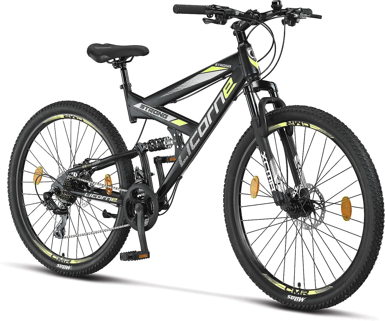 Licorne Bike Bicicleta de montaña Strong 2D de alta calidad, de 26, 27,5 y 29 pulgadas, para niños, niñas, mujeres y hombres, freno de disco delantero y trasero, 21 velocidades, suspensión completa
