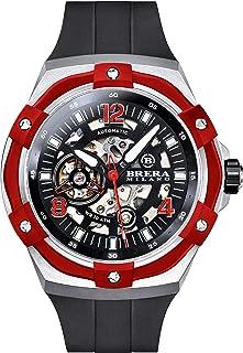 Brera Milano - Reloj de hombre Superdeportivo Evo de 45 mm, con caja de acero, esfera negra – bisel rojo, correa de goma natural negro, deployant de acero, Bmssas4501b