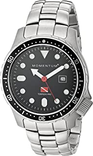 Men s Sports Watch | Torpedo Pro Dive Watch by Momentum | Stainless Steel Watches for Men | Analog Watch with Japanese Movement | Water Resistant (200M/660FT) Classic Watch - Black / 1M-DV44B0