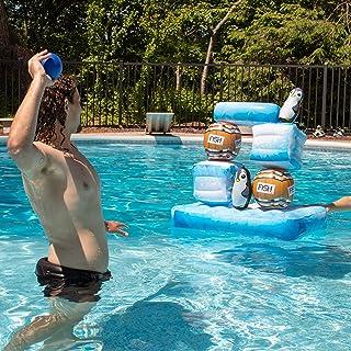 SCS Direct Stack 'n Splash Penguins Floating Pool Game - Build It, Hit It, Knock It Down! - 10-Piece Set Includes 2 Balls - Stacks Over 2 Feet High!