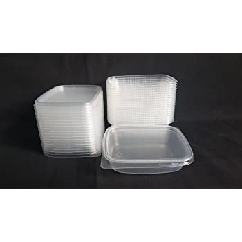 20 piezas 125 ml peque/ño rectangular desechables de pl/ástico cubo de recipientes con tapa para alimentos.