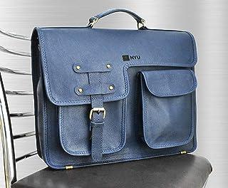 Borsa per laptop a tracolla in pelle blu fatta a mano personalizzata per uomo e donna