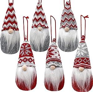 6 PCS Christmas Swedish Santa Tomte Plush Gnome Christmas Ornaments for Hanging and Tabletop Christmas Decorations