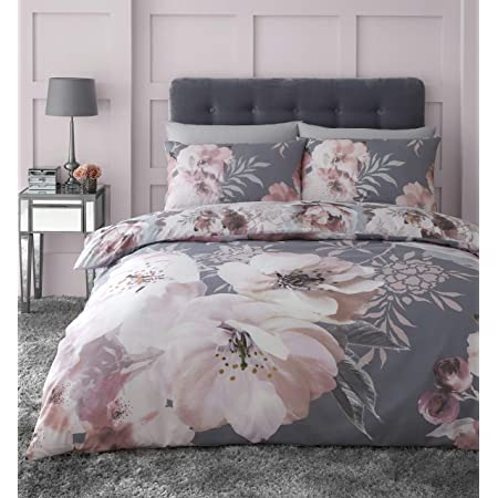 Catherine Lansfield - Set copripiumino per letto king size, motivo floreale, facile da pulire, colore: Grigio