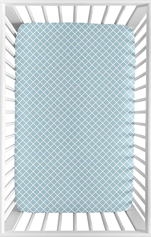 Sweet Jojo Designs Blue And White Lattice Baby Boy Or Girl Unisex Fitted Mini Portable Crib Sheet For Woodland Animal Toile Collection For Mini Crib Or Pack And Play ONLY