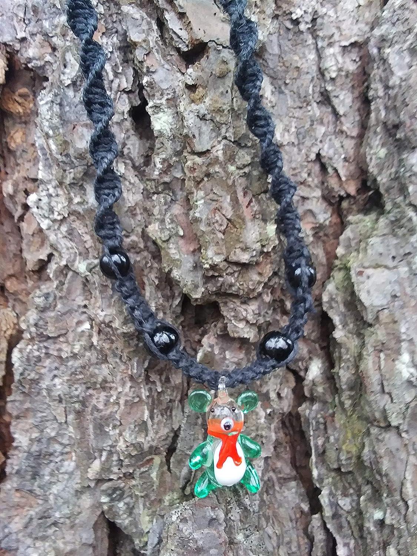 [Alternative dealer] BEACH HEMP JEWELRY Green Glass Choker Bear Handma Cheap super special price Teddy Necklace