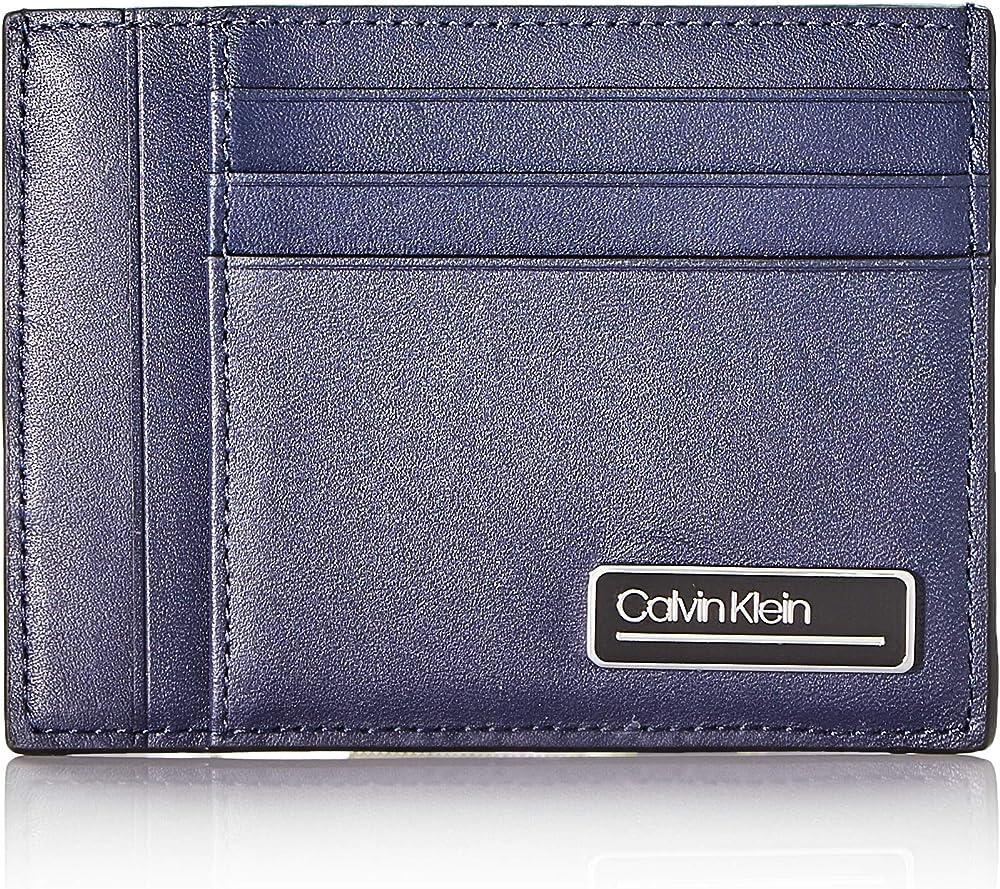 Calvin klein primary l id cardholder - portafogli da uomo porta carte di credito in pelle K50K505419