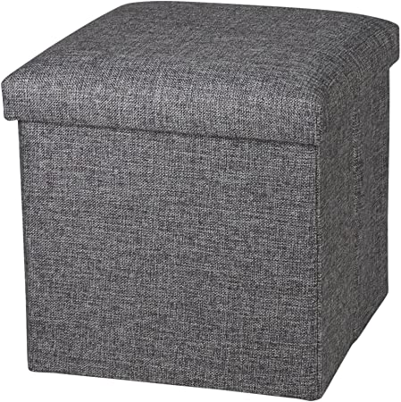 Linen Folding Storage Ottoman Cube Footrest Seat, 12 X 12 X 12 Inches