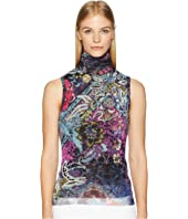 FUZZI - Sleeveless T-Neck Floral Patch Print