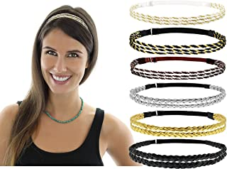 Beaute Galleria 6 Pieces Adjustable Elastic Non Slip Braided Plaited Women Headbands Hair Band with Double Braided and Triple Strand Twisted Gold Silver Disco Hippie Boho Bohemian Style Hair Accessory
