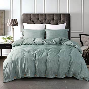 """JELLYMONI Green Duvet Cover Set,3-in-1 Luxury Button Bedding Set,Ultra Soft Breathable Hypoallergenic Microfiber, Easy Care,Simple Style,Solid Color Duvet Cover Queen Size(90""""x90"""")(No Comforter)"""