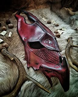 Leather Dragon Mask - Handmade Leather Mask - Jormungandr - Animal Mask - Festival Mask - Norse Runes