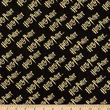 Wizarding World of Harry Potter Double Gauze Logo Metallic Gold/Black Fabric by The Yard