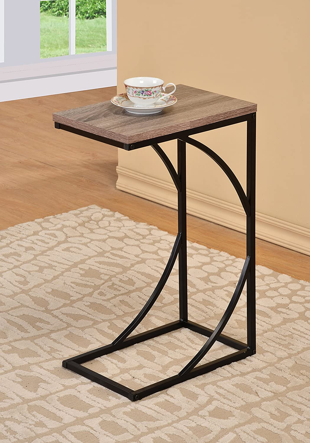 Reclaimed Wood Look Finish Black Frame Snack Side Magazine End Table