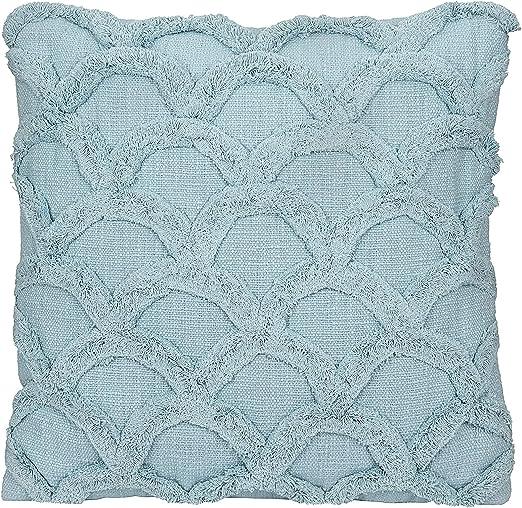 Amazon Com Creative Co Op Square Cotton Chenille Scalloped Pillow White Home Kitchen