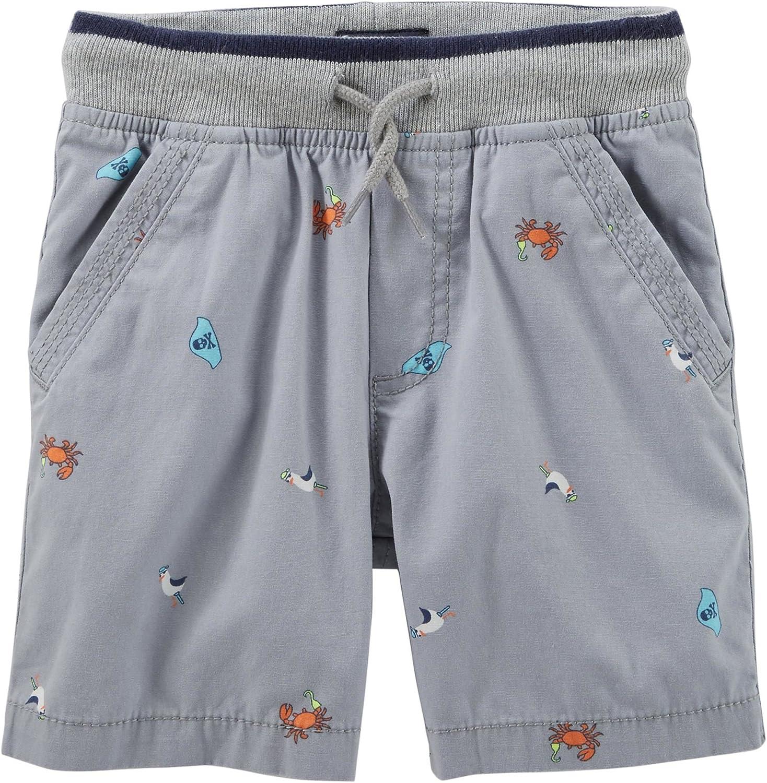OshKosh Boys Pull-On Nautical Print Canvas Shorts with Knit Band; Grey