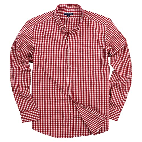 ccc9e3679c4 Men s Long Sleeve Button Down Stretch Fit Gingham Plaid Shirt