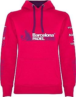 Barcelona Padel Tour | Sudadera para Mujer con Capucha Bicolor, Bolsillo Canguro y Estampación Especial de Pádel con Patro...