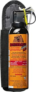 SABRE FRONTIERSMAN Xtra 1.0% Bear Spray 9.2 oz with Belt Holster — Maximum Strength, Maximum Range & Greatest Protective Barrier Per Burst! — Effective Against All Types of Bears