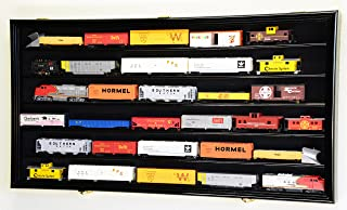 HO Scale Train Display Case Cabinet Wall Rack w/ UV Protection- Lockable -Black