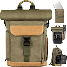 TARION Camera Backpack Canvas Bag Photography Backpack Water Repellent DSLR SLR Camera Bag with Rain Cover Mirrorless Came...