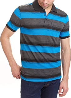 Hillcrest Men's Short Sleeve Slim Fit Polo Shirts with Stripe