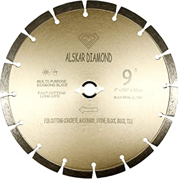 Washed Concrete Professional Diamond Cutting Disc 230 mm x 22.23 mm for Angle Grinder Suitable for Concrete Steel Concrete Masonry Universal Brick