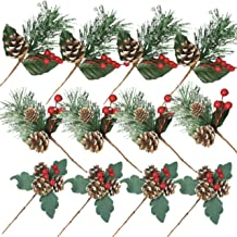 BANBERRY DESIGNS Assorted Christmas Pine Picks - Set of 12 Red Berry Snow Flocked Pinecone Holiday Floral Sprays - Wreaths...