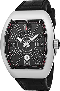 Vanguard Automatic Watch - Tonneau Analog Black Face Automatic Mens Watch with Luminous Hands, Date and Sapphire Crystal - Black Band Swiss Made Luxury Watch for Men V 45 SC DT AC NR