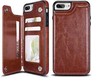 UEEBAI Case for iPhone 7 iPhone 8, Luxury PU Leather Case with [Two Magnetic Clasp] [Card Slots] Stand Function Durable Shockproof Soft TPU Case Back Wallet Flip Cover for iPhone 7/iPhone 8 - Brown