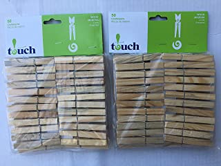 Touch Wooden Clothes Pins, 2 Packs of 50 (100 Pieces Total)