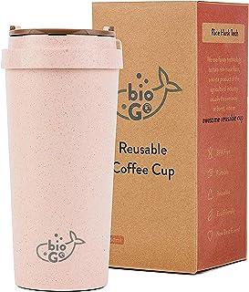 bioGo Cup, Rice Husk Fibre, BPA-Free, Double Wall Insulation Reusable Coffee Cups,..