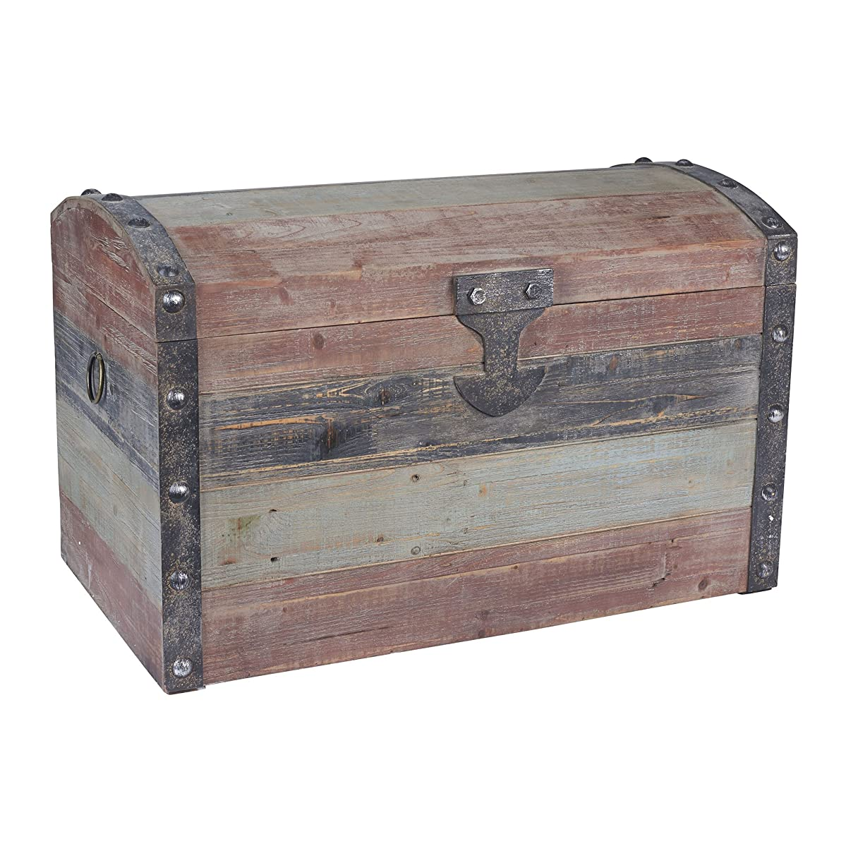 Household Essentials Stripped Weathered Wooden Storage Trunk, Large