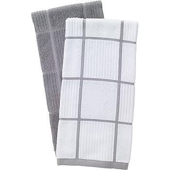 T-fal Textiles - Toalla de Cocina (100% algodón), diseño de parquet, Sólido/Chequeo, Gris, Paquete de 2, 1