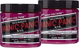 Manic Panic Cleo Rose Red Hair Color Cream (2-Pack) Classic High Voltage Semi-Permanent Hair Dye, Vivid Magenta Pink Shade For Dark Light Hair, Vegan, PPD & Ammonia-Free, Ready-to-Use, No-Mix Coloring