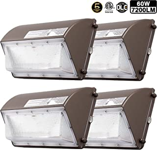4 Pack 60W New LED Wall Pack with Dusk-to-Dawn Photocell, IP65 Waterproof Outdoor Lighting Fixture, 200-300W HPS/MH Replacement, 7200lm 5000K 100-277Vac ETL&DLC Listed 5-Year Warranty for ZJOJO